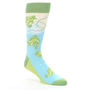 Image of Green Blue Fishing Lure Men's Dress Socks (side-1-27)