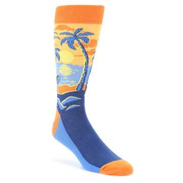 Orange-Sunset-Palm-Trees-Mens-Dress-Socks-Statement-Sockwear