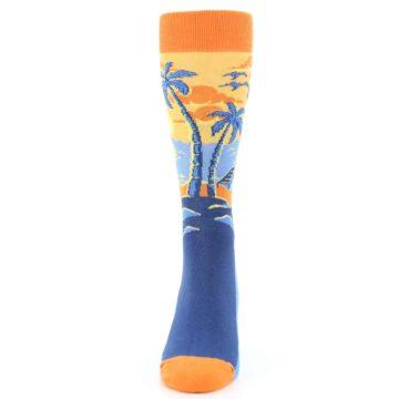 Image of Orange Sunset Palm Trees Men's Dress Socks (front-05)