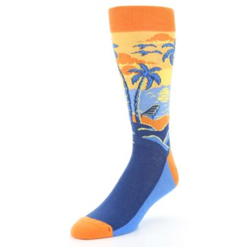 Image of Orange Sunset Palm Trees Men's Dress Socks (side-2-front-08)