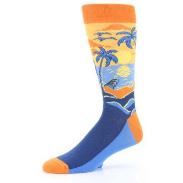 Image of Orange Sunset Palm Trees Men's Dress Socks (side-2-10)