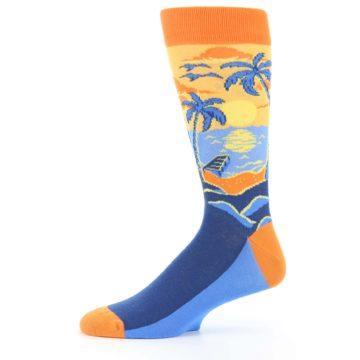Image of Orange Sunset Palm Trees Men's Dress Socks (side-2-11)