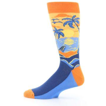 Image of Orange Sunset Palm Trees Men's Dress Socks (side-2-12)