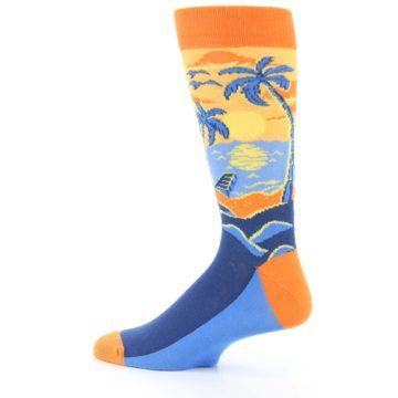 Image of Orange Sunset Palm Trees Men's Dress Socks (side-2-13)
