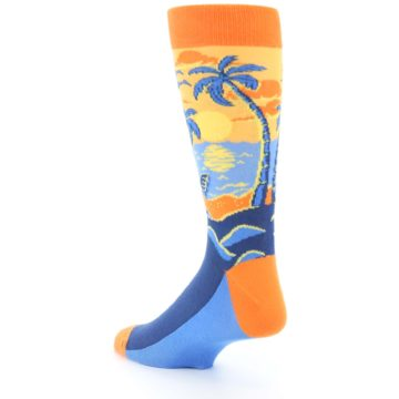 Image of Orange Sunset Palm Trees Men's Dress Socks (side-2-back-15)