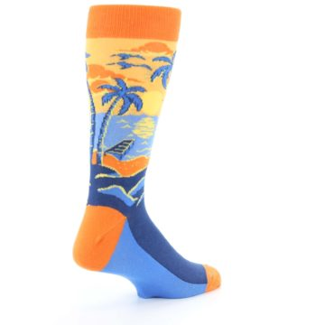 Image of Orange Sunset Palm Trees Men's Dress Socks (side-1-back-22)