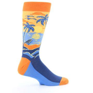 Image of Orange Sunset Palm Trees Men's Dress Socks (side-1-24)