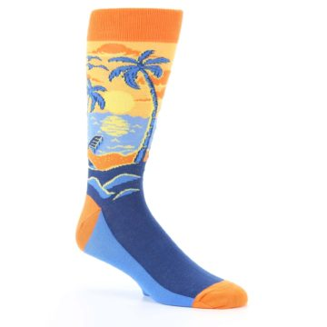 Image of Orange Sunset Palm Trees Men's Dress Socks (side-1-26)