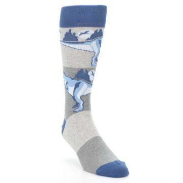 Image of Blue Gray Dinosaurs Men's Dress Socks (side-1-front-02)