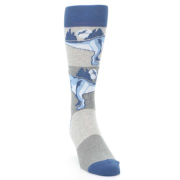 Image of Blue Gray Dinosaurs Men's Dress Socks (side-1-front-03)