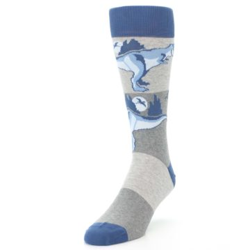 Image of Blue Gray Dinosaurs Men's Dress Socks (side-2-front-07)