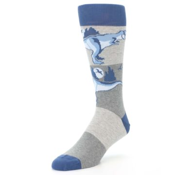 Image of Blue Gray Dinosaurs Men's Dress Socks (side-2-front-08)