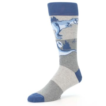 Image of Blue Gray Dinosaurs Men's Dress Socks (side-2-09)