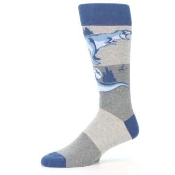 Image of Blue Gray Dinosaurs Men's Dress Socks (side-2-10)