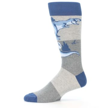 Image of Blue Gray Dinosaurs Men's Dress Socks (side-2-11)