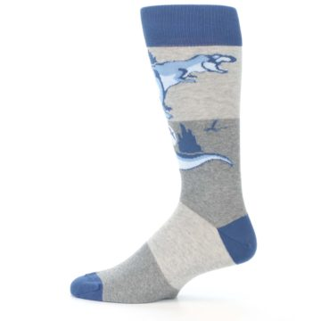 Image of Blue Gray Dinosaurs Men's Dress Socks (side-2-12)