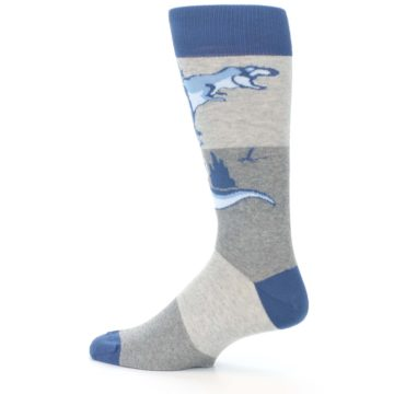 Image of Blue Gray Dinosaurs Men's Dress Socks (side-2-13)
