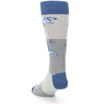 Image of Blue Gray Dinosaurs Men's Dress Socks (side-2-back-16)