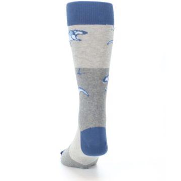 Image of Blue Gray Dinosaurs Men's Dress Socks (back-17)