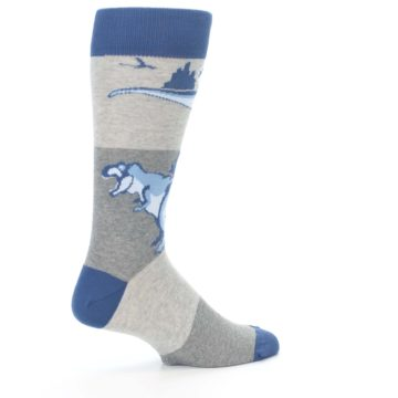 Image of Blue Gray Dinosaurs Men's Dress Socks (side-1-23)