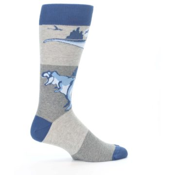 Image of Blue Gray Dinosaurs Men's Dress Socks (side-1-24)