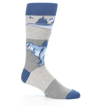 Image of Blue Gray Dinosaurs Men's Dress Socks (side-1-25)