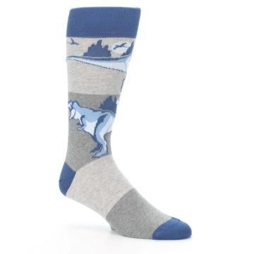 Image of Blue Gray Dinosaurs Men's Dress Socks (side-1-26)