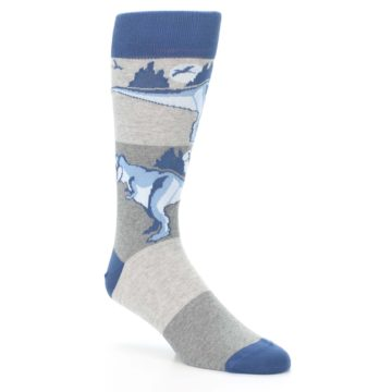 Image of Blue Gray Dinosaurs Men's Dress Socks (side-1-27)