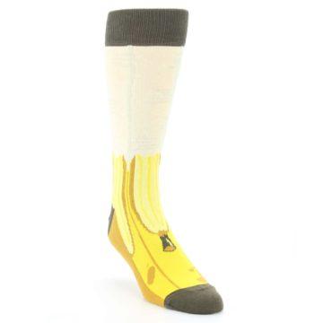 Image of Yellow Banana Peeled Men's Dress Socks (side-1-front-02)