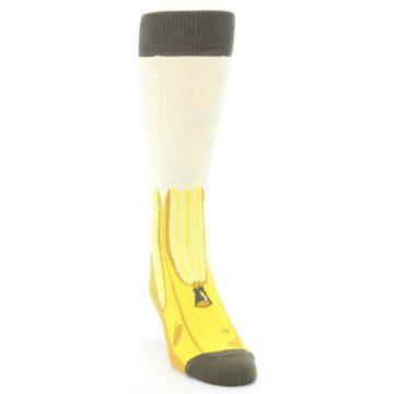 Image of Yellow Banana Peeled Men's Dress Socks (side-1-front-03)