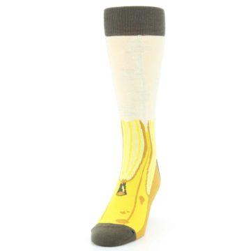 Image of Yellow Banana Peeled Men's Dress Socks (side-2-front-06)