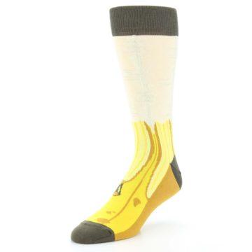 Image of Yellow Banana Peeled Men's Dress Socks (side-2-front-08)