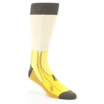 Image of Yellow Banana Peeled Men's Dress Socks (side-1-27)