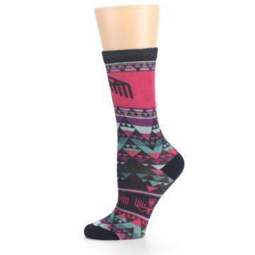 Image of Pink Teal Multicolor Bird Geo Print Wool Women's Casual Socks (side-2-11)