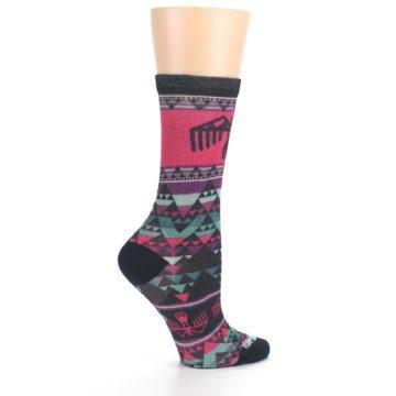 Image of Pink Teal Multicolor Bird Geo Print Wool Women's Casual Socks (side-1-24)