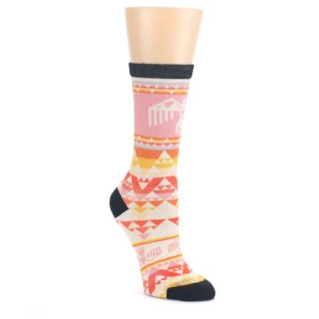 Coral-Orange-Multicolor-Bird-Geo-Print-Wool-Womens-Casual-Socks-Smartwool