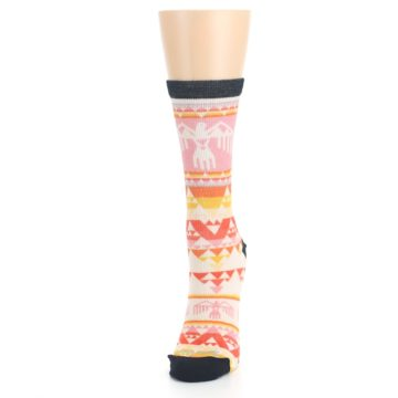 Image of Coral Orange Multicolor Bird Geo Print Wool Women's Casual Socks (side-2-front-06)