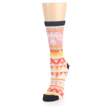 Image of Coral Orange Multicolor Bird Geo Print Wool Women's Casual Socks (side-2-front-07)