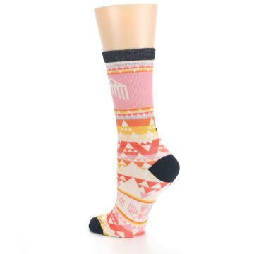 Image of Coral Orange Multicolor Bird Geo Print Wool Women's Casual Socks (side-2-back-14)