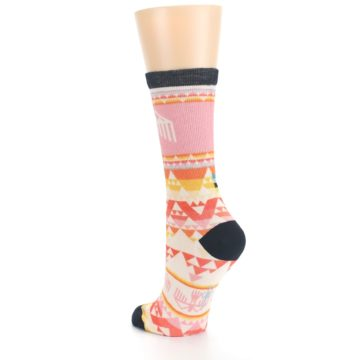 Image of Coral Orange Multicolor Bird Geo Print Wool Women's Casual Socks (side-2-back-15)