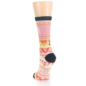 Image of Coral Orange Multicolor Bird Geo Print Wool Women's Casual Socks (side-2-back-16)