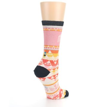 Image of Coral Orange Multicolor Bird Geo Print Wool Women's Casual Socks (side-1-back-22)