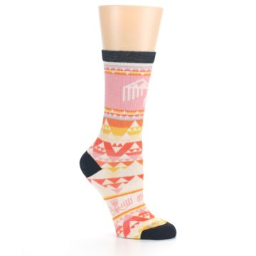 Image of Coral Orange Multicolor Bird Geo Print Wool Women's Casual Socks (side-1-26)