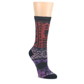 Orange-Purple-Tribal-Print-Wool-Womens-Casual-Socks-Smartwool