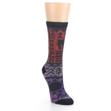 Image of Orange Purple Tribal Print Wool Women's Casual Socks (side-1-front-02)