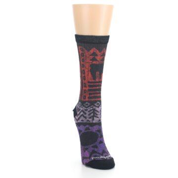 Image of Orange Purple Tribal Print Wool Women's Casual Socks (side-1-front-03)