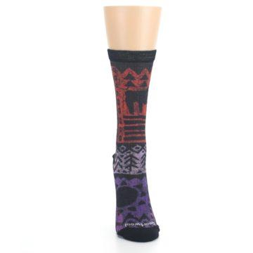Image of Orange Purple Tribal Print Wool Women's Casual Socks (front-04)
