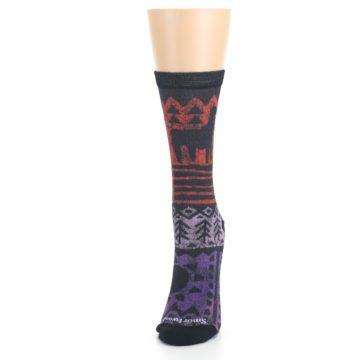 Image of Orange Purple Tribal Print Wool Women's Casual Socks (side-2-front-06)