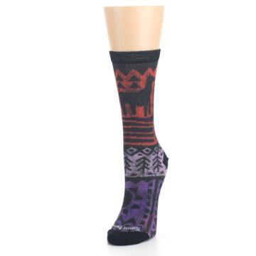 Image of Orange Purple Tribal Print Wool Women's Casual Socks (side-2-front-07)
