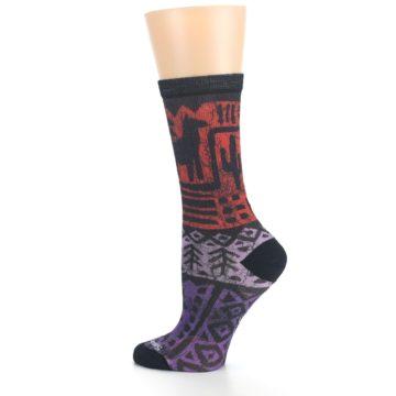 Image of Orange Purple Tribal Print Wool Women's Casual Socks (side-2-13)